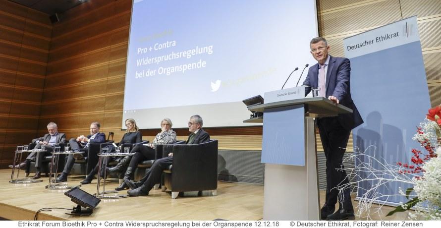 Bild Ethikrat-Podiumsdiskussion am 12.12.18 zu Pro und contra Widerspruchsregelung bei Organspende