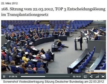 Plenarsitzung Deutscher Bundestag 22.03.2012 zur Organspende